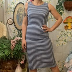 Vintage y2k blue black stripe midi tank top dress
